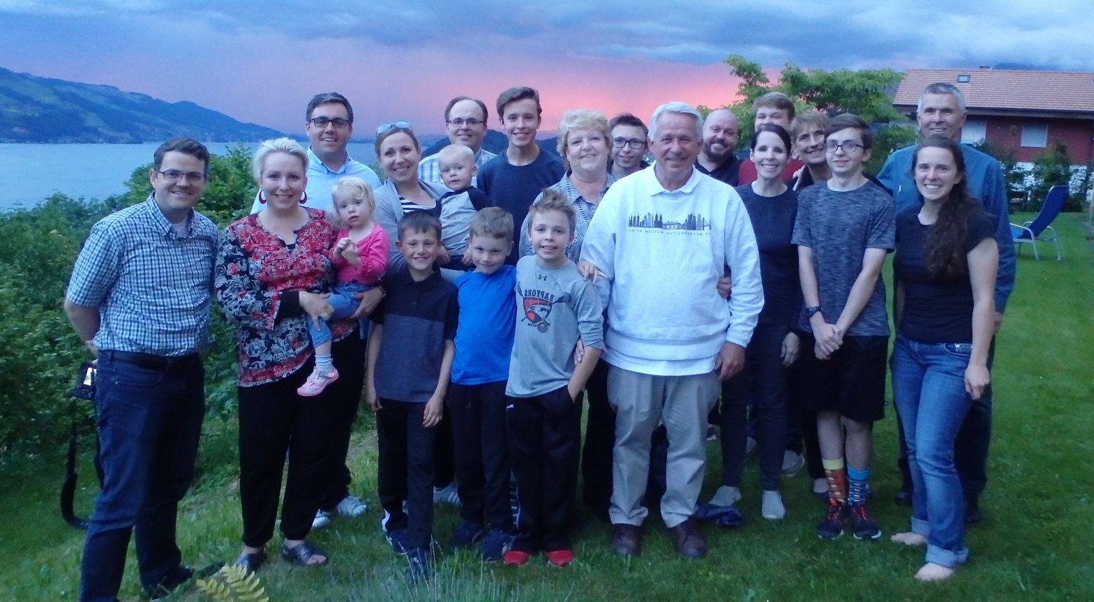 family group on genealogy tour in Switzerland